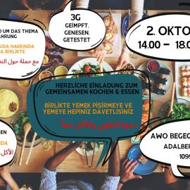 Was macht ihr am Samstag? Kommt zum gemeinsamen Kochen und Essen! 2.10. | 14:00-18:00