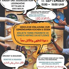 Am Freitag kochen und essen wir wieder gemeinsam in Neukölln | 17.09. | 15:00-19:00